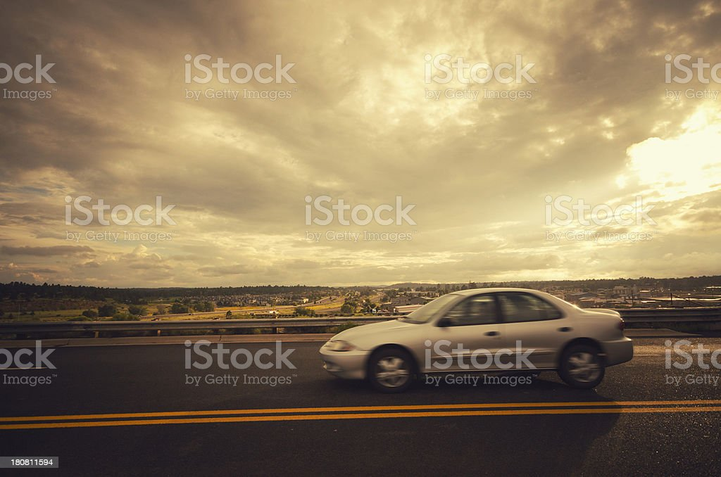 Motion blur car on the us road royalty-free stock photo