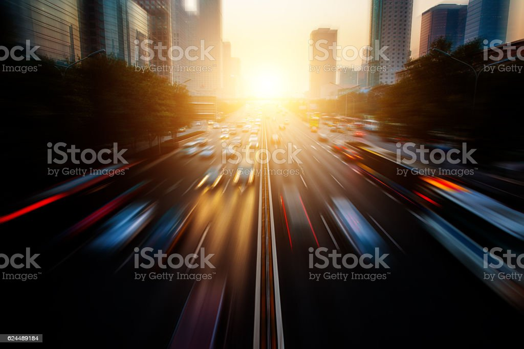 Motion blur city traffic – Foto