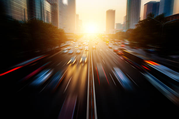 Motion blur city traffic stock photo