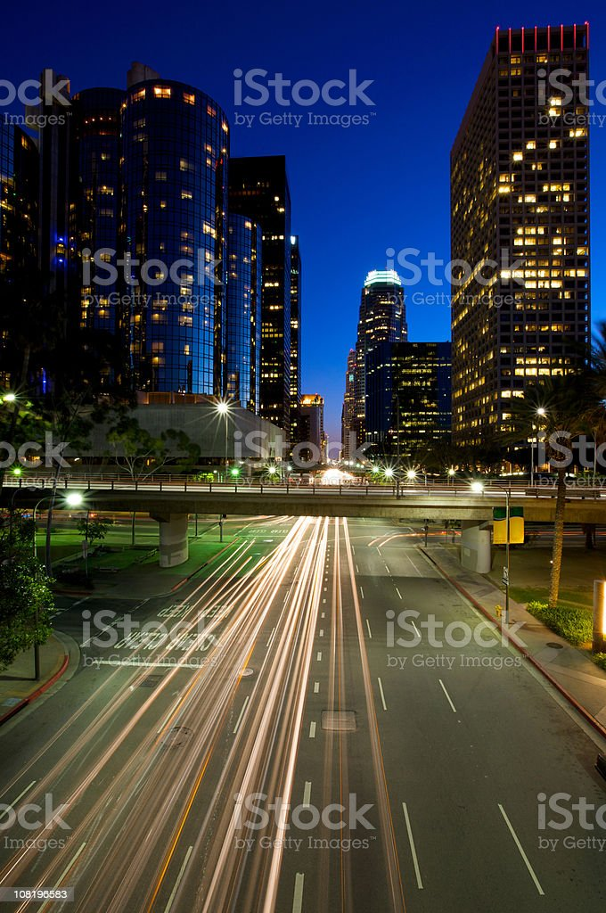 Motion Blur of Busy Los Angeles Street at Night royalty-free stock photo