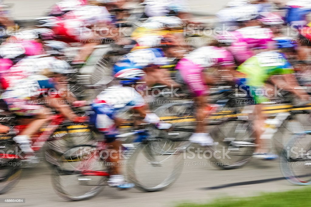 Motion blur of cyclists stock photo