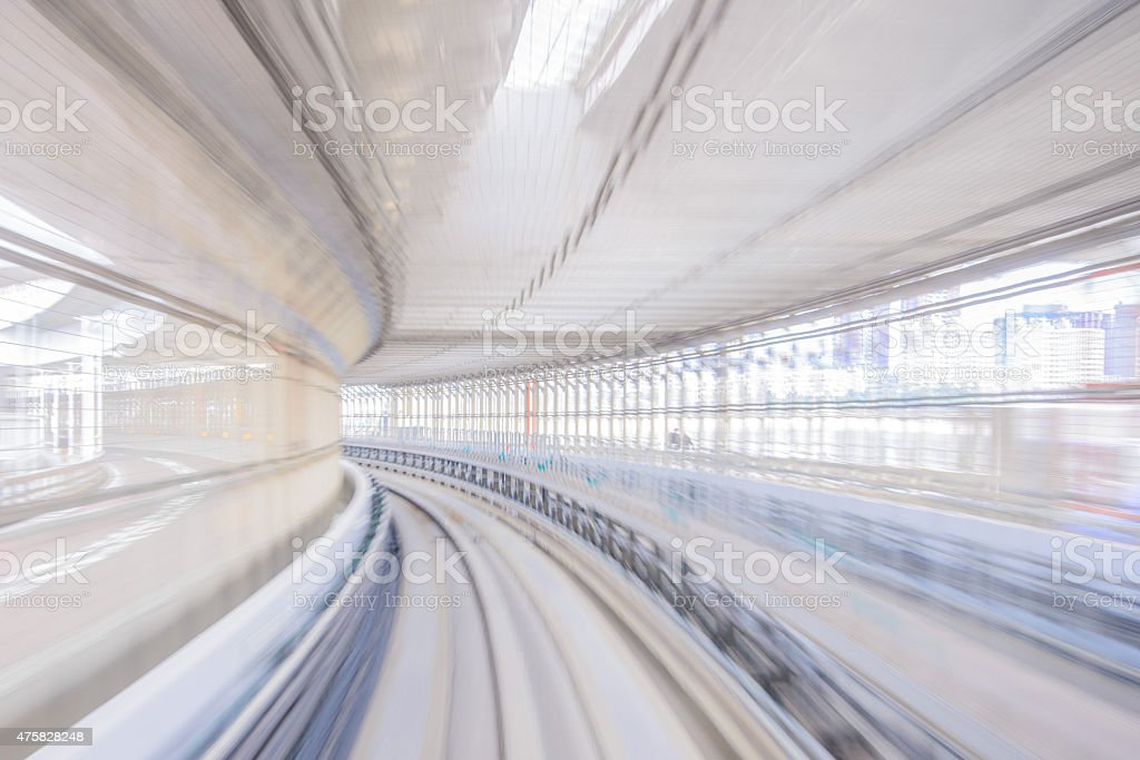 Motion blur of Japanese Railway Track stock photo