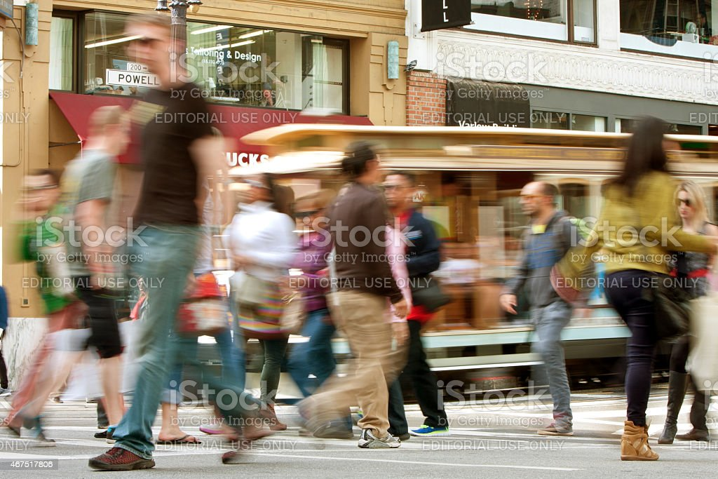 Motion Blur Of Pedestrians And Trolley Car In San Francisco stock photo