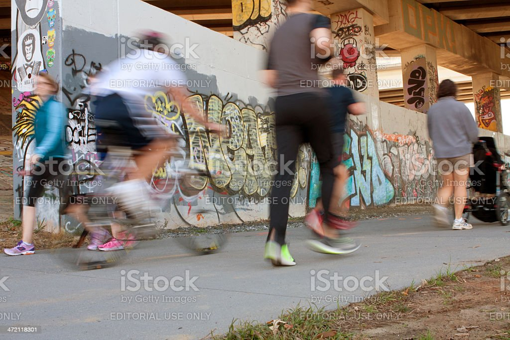 Motion Blur Of People Exercising Along Atlanta Beltline Urban Trail stock photo