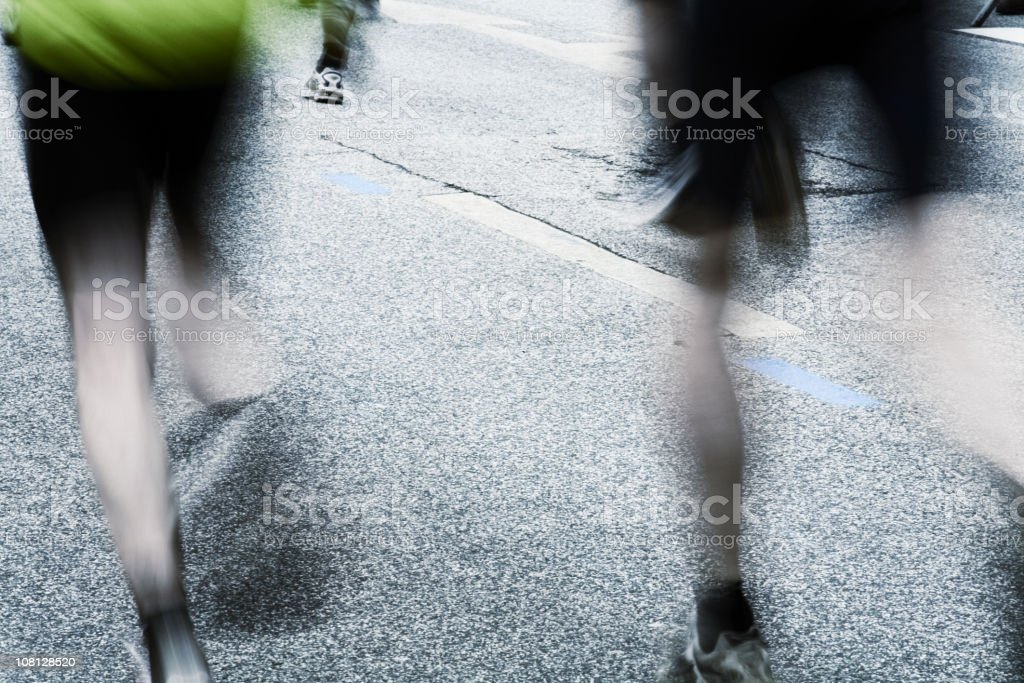 Motion Blur of Runners During City Marathon royalty-free stock photo