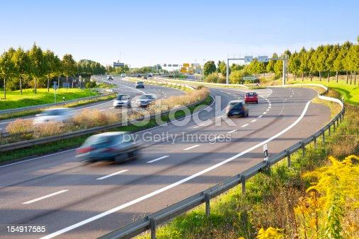 German Autobahn near Leipzig, blurred cars