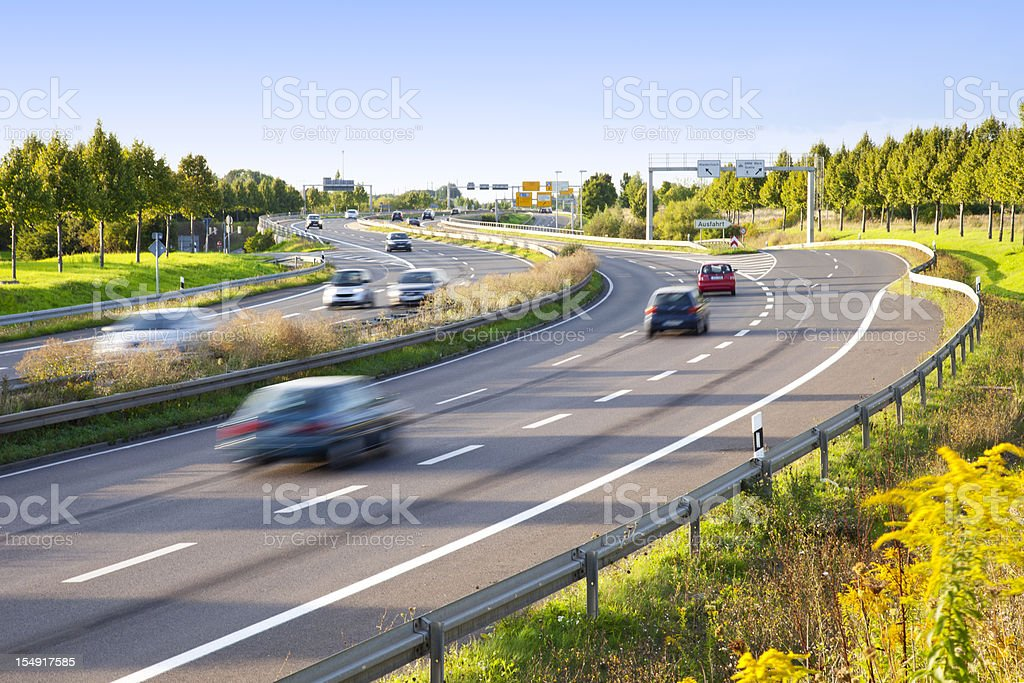 Motion blur of traffic on multilane highway stock photo