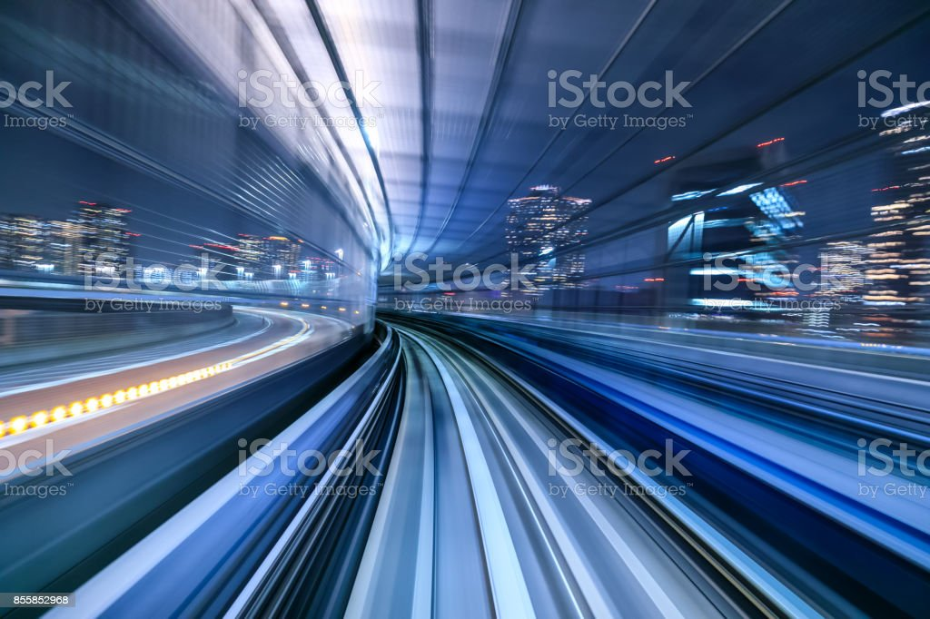 Motion blur of train moving inside tunnel in Tokyo, Japan Motion blur of train moving inside tunnel in Tokyo, Japan Abstract Stock Photo