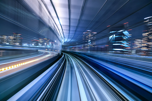Motion Blur Of Train Moving Inside Tunnel In Tokyo Japan Stock Photo - Download Image Now