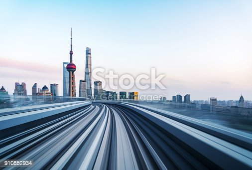 Abstract motion-blurred view from a moving train,shanghai,china.
