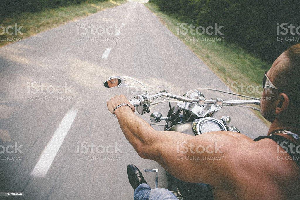 Motion Blur Photo Of Motorbike Rider, Copy Space stock photo