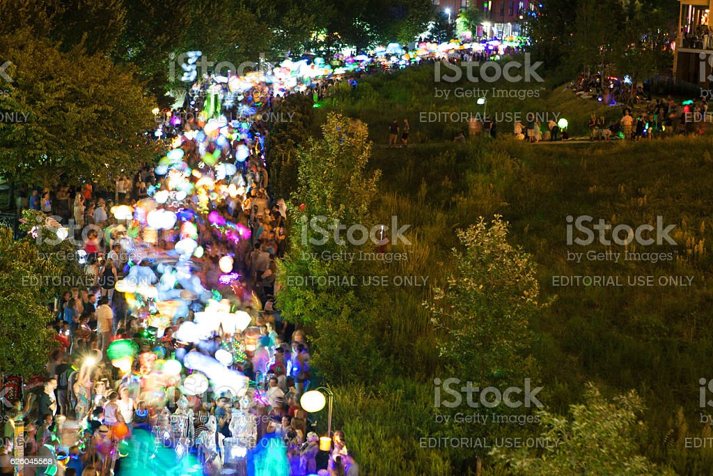 Motion Blur Shows Hundreds Of Colorful Lanterns In Atlanta Parade stock photo