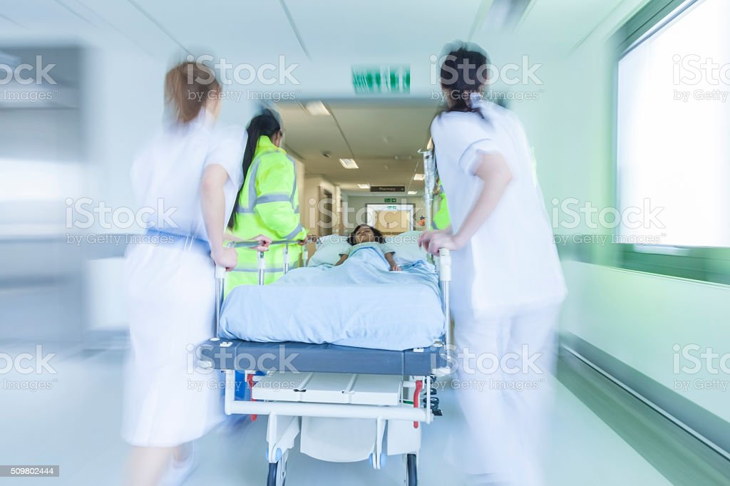 Motion Blur Stretcher Gurney Patient Hospital Emergency stock photo