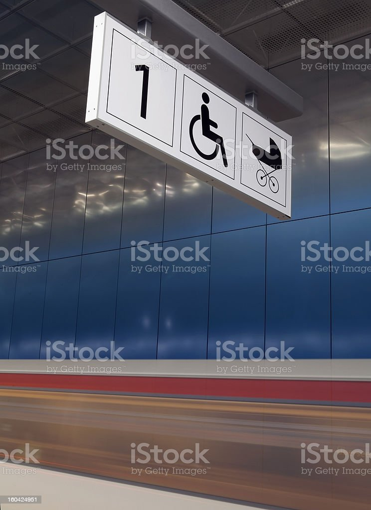 Motion blur Subway train at rail royalty-free stock photo
