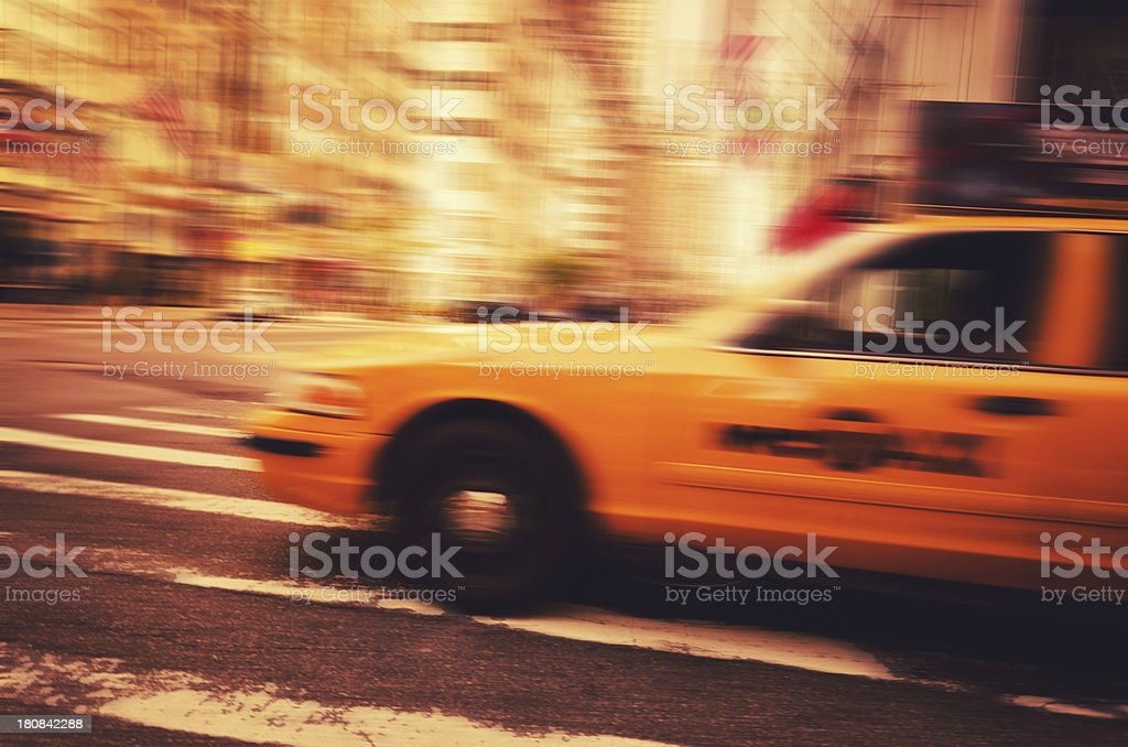 motion blur taxi in manhattan royalty-free stock photo