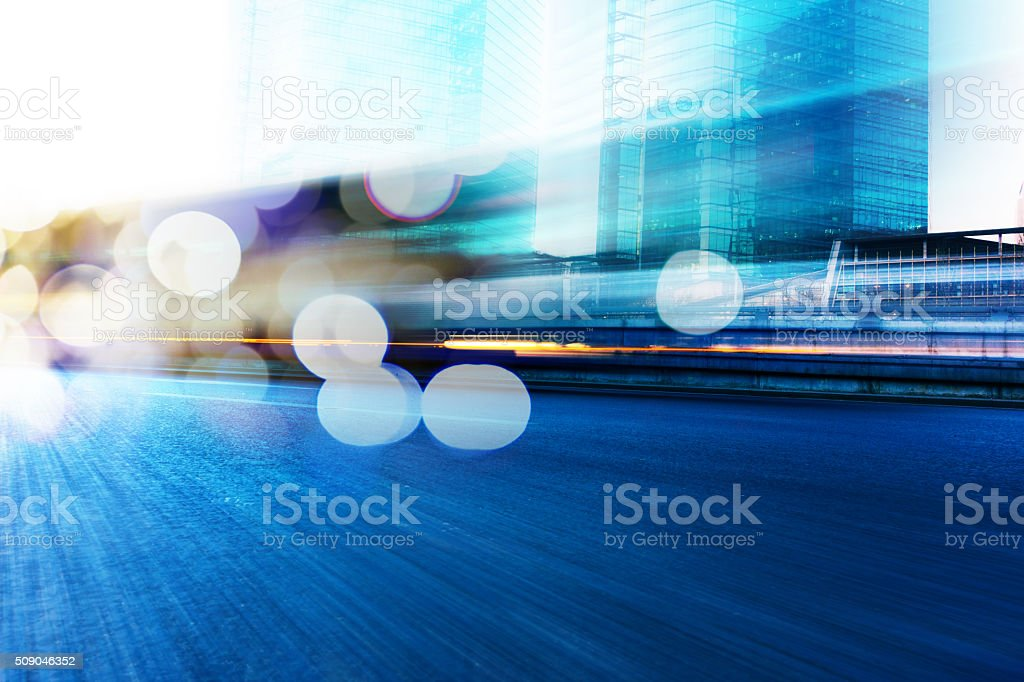 Motion blur traffic in city stock photo