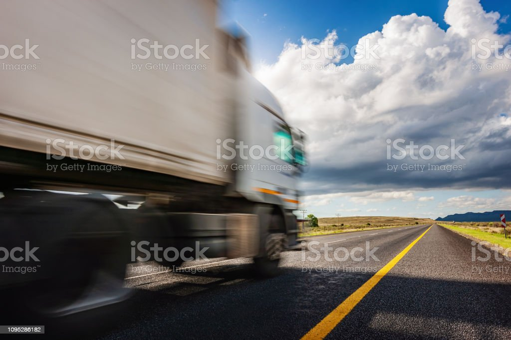 Motion Blured Truck Speeding on Highway South Africa stock photo