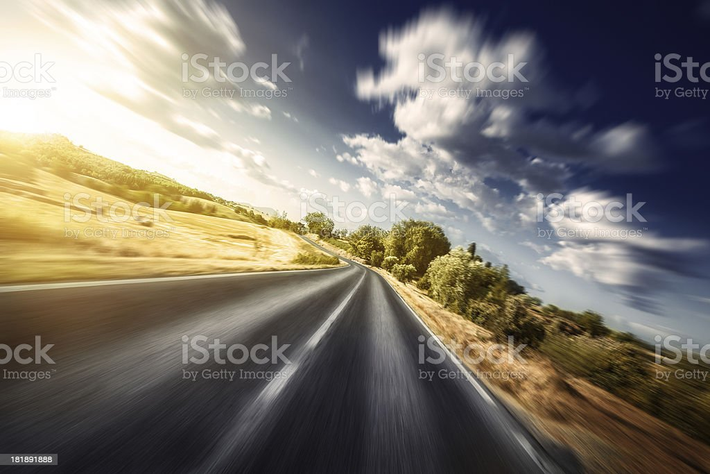 Motion blurred asphalt road stock photo
