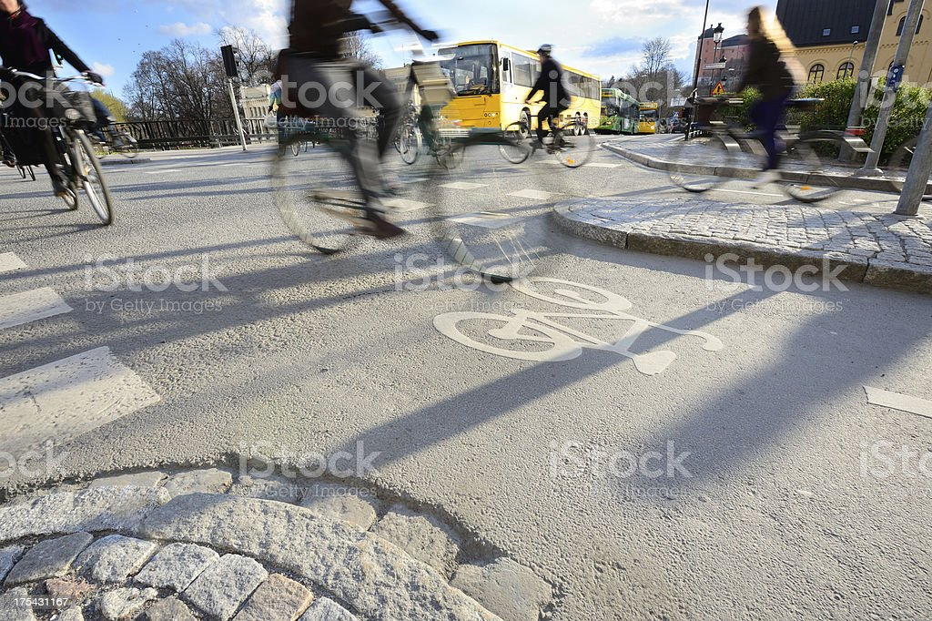 Motion blurred bikes stock photo