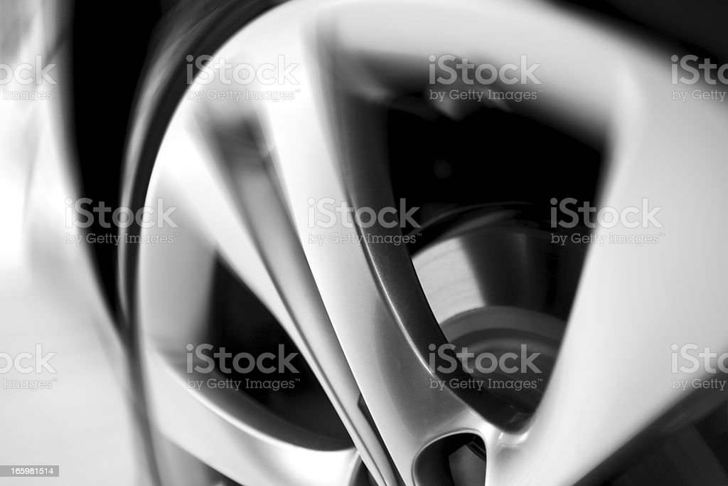 motion blurred car wheel stock photo