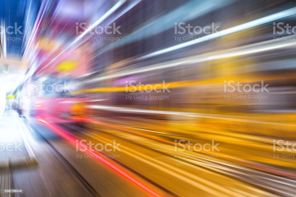Motion blurred city background in hong Kong central district royalty-free stock photo