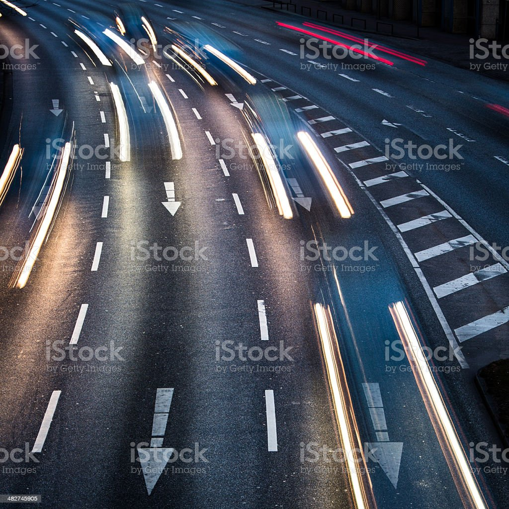Motion blurred city road traffic royalty-free stock photo