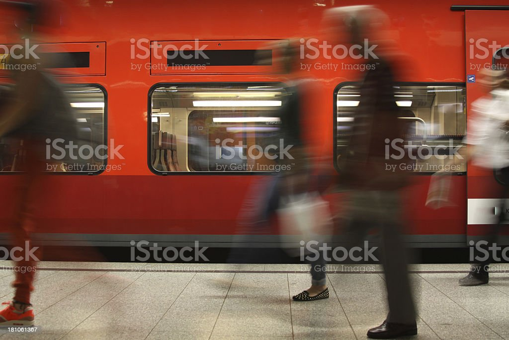 Motion blurred commuters royalty-free stock photo