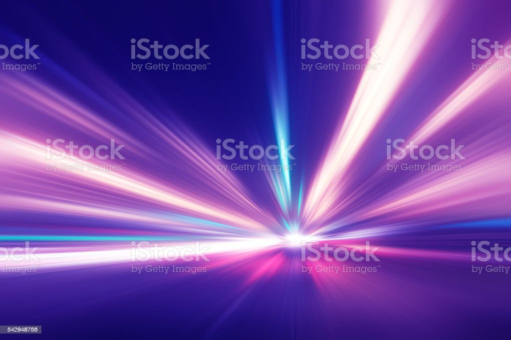 Motion blurred image of traffic lights on the road. stock photo