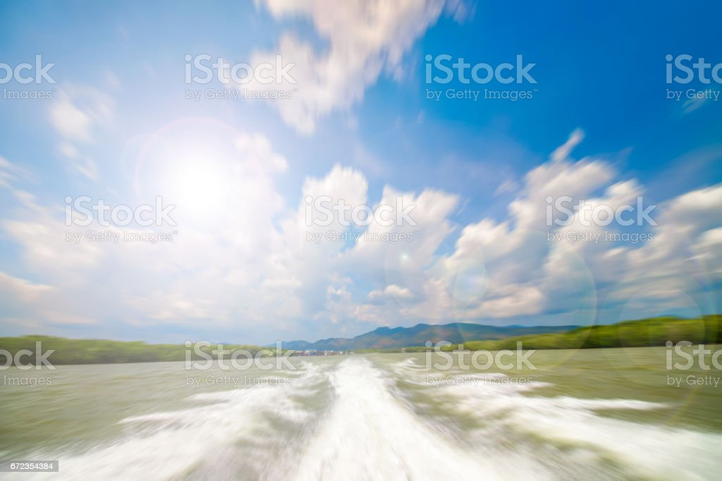 motion blurred of wave from speed boat stock photo