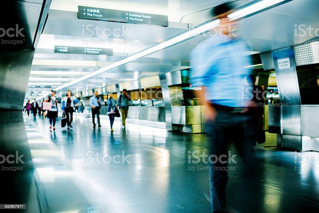 Motion blurred pedestrian walkway, Hong Kong stock photo