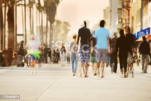 Long time daytime exposure of Venice Beach boardwalk with tourists