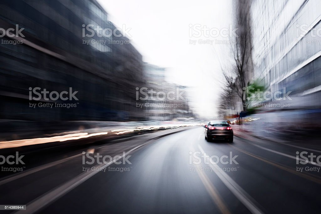 Long exposure motion blurred shot of a ride through the city on a...