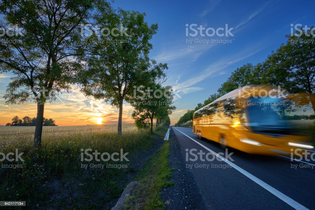 Motion blurred yellow bus traveling on the road in the avenue of trees in a rural landscape at sunset stock photo