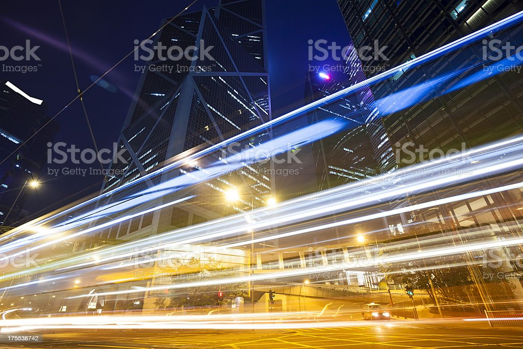 motion bus with blur light through city royalty-free stock photo