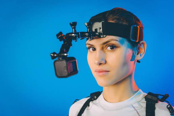 motion caption virtual reality stock photo