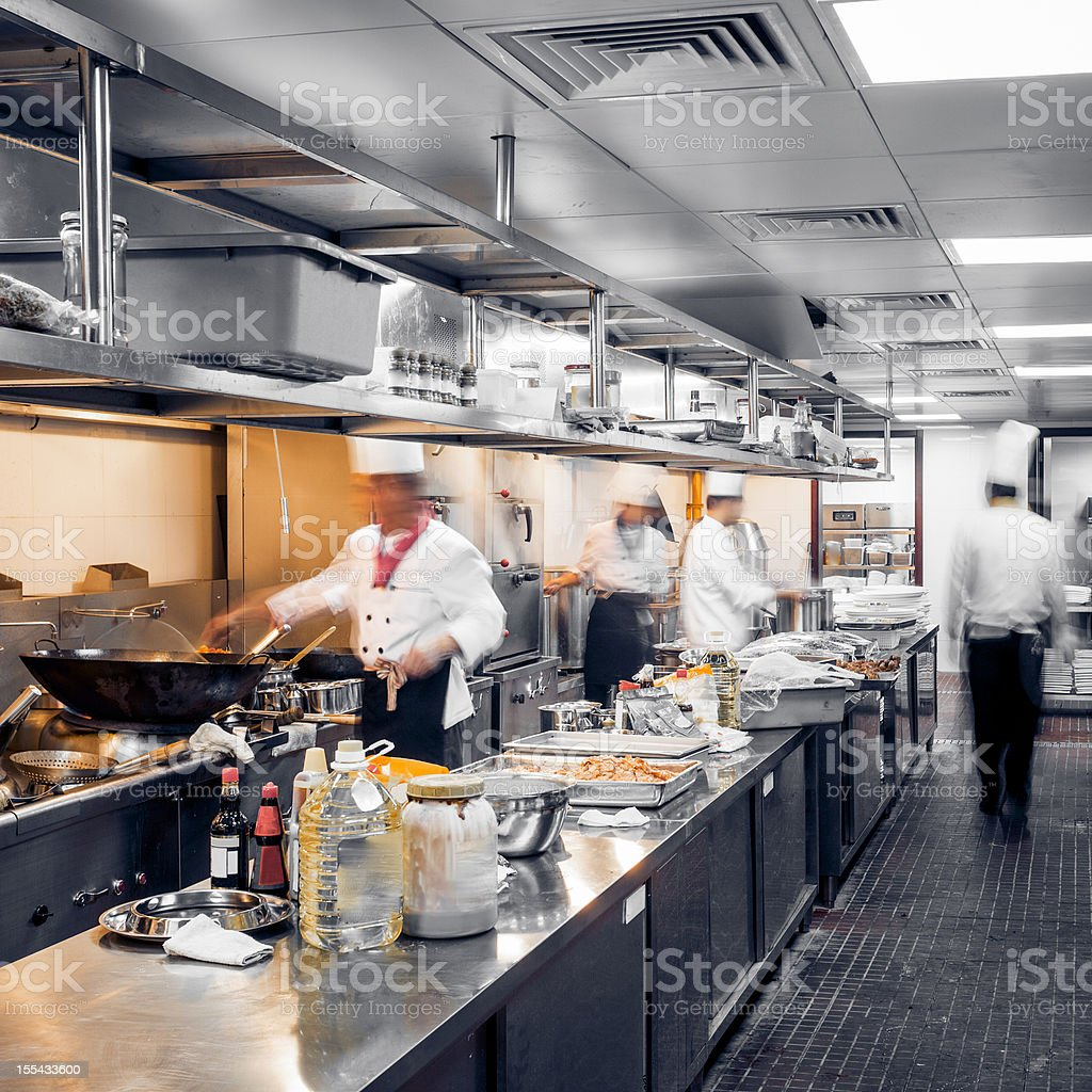 Motion Chefs Of A Restaurant Kitchen Stock Photo & More