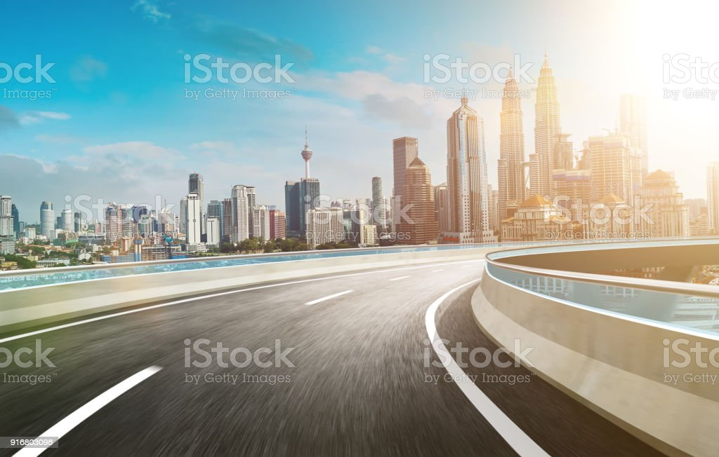 Motion curvy flyover asphalt highway road stock photo