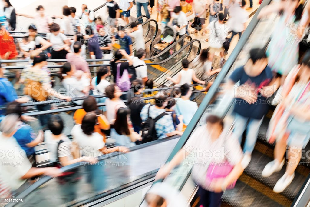 Motion escalators at the modern shopping mall stock photo