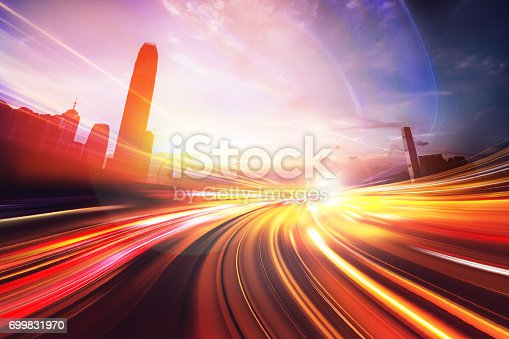 istock Motion Light Effect on City Night Background 699831970