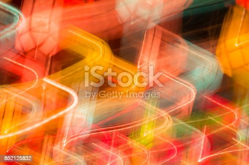 istock Motion lights at night bokeh abstract background. 852125832