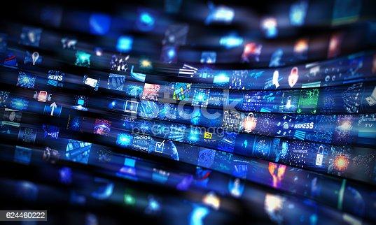 Digital Media wall concept Wall of screens smart TV