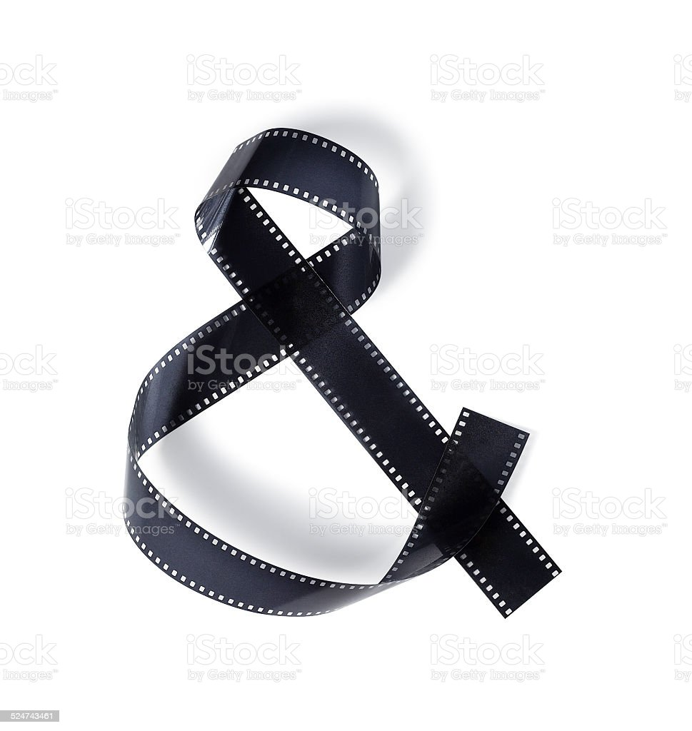 Motion picture film symbolizes ampersand stock photo