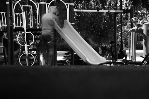 movement on the slide. Balck and White photo.