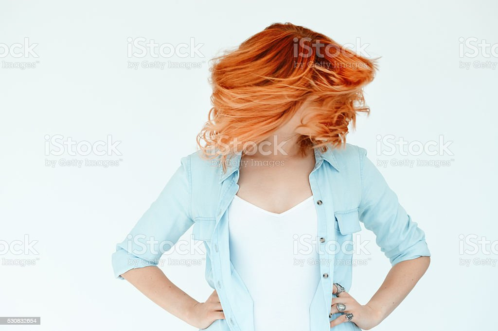 Motion Shot Of Dyed Hair stock photo