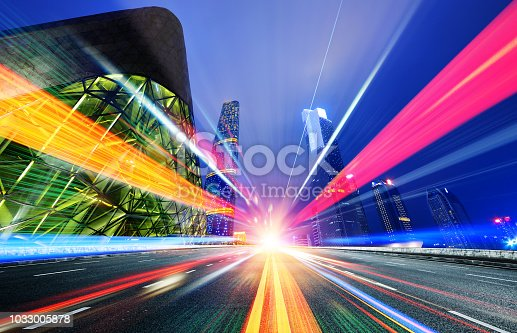 istock Motion speed effect with City Night 1033005878