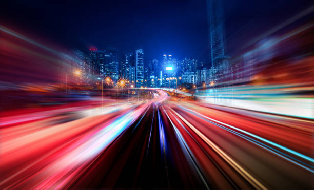 Motion Speed Light Tail with Night City Background Abstract Motion Speed Light with Night City Background long exposure stock pictures, royalty-free photos & images