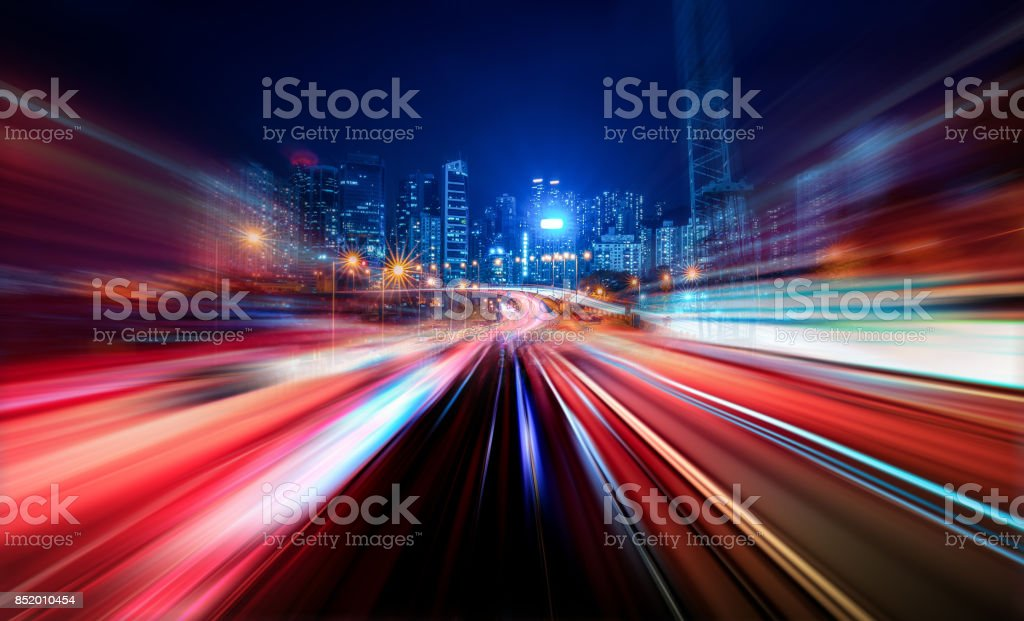 Motion Speed Light Tail with Night City Background stock photo