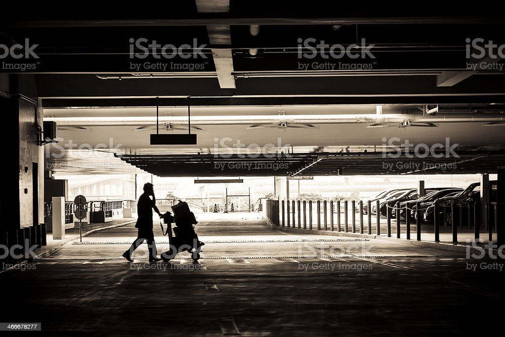 motion traveler push a cart in silhouette stock photo