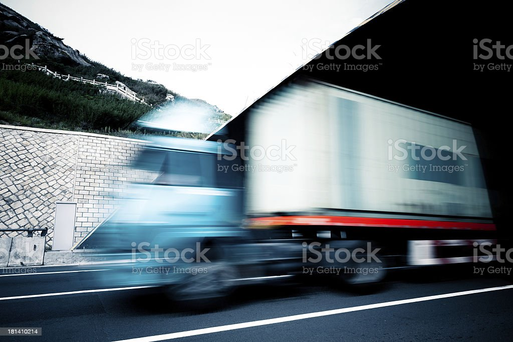 motion truck go through the tunnel royalty-free stock photo