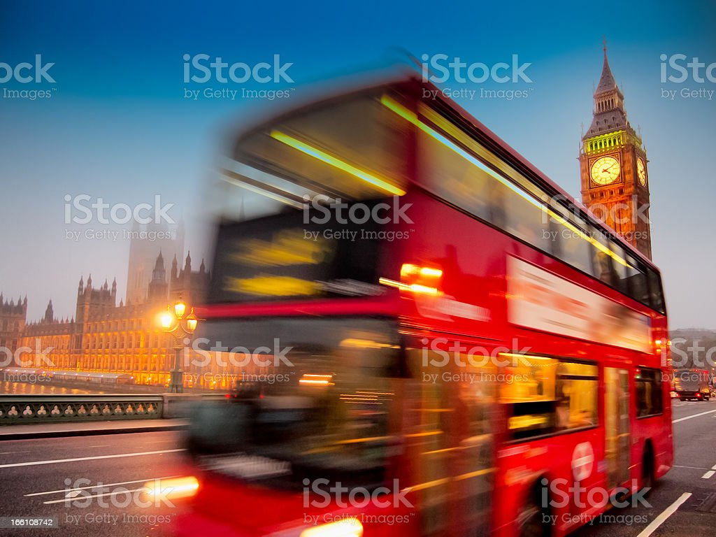 Motion-blurred double decker bus in London, England stock photo